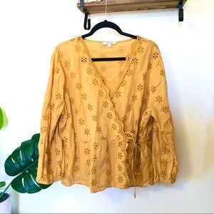 Madewell Yellow Scalloped Eyelet Wrap Top Plus 2X
